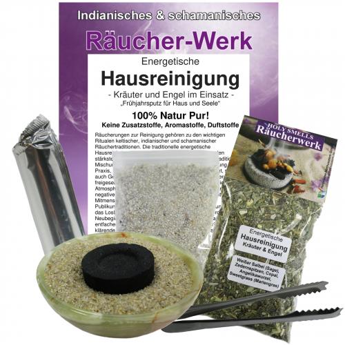 Räucherset 6-tlg Energetische Hausreinigung + grüne Onyx Schale