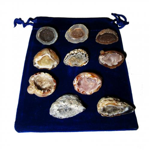 21 teiliges Glücksgeoden Geschenk-Set mit 10 Geoden a 3-3,5 cm