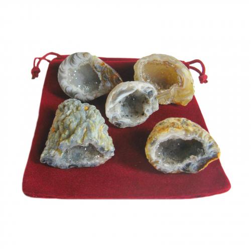 11 teiliges Feengarten Geschenk-Set mit 5 Geoden a 2,5-3 cm