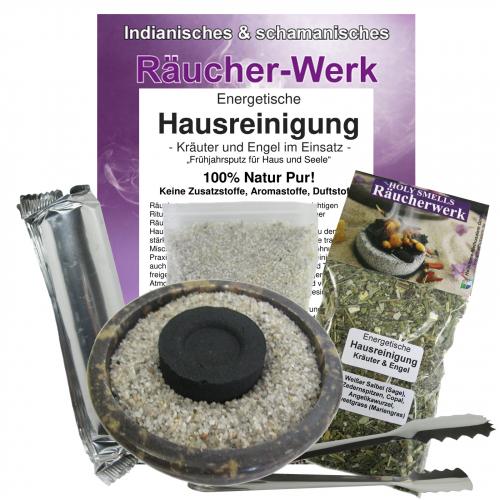 Räucherset 6-tlg Energetische Hausreinigung + braune Naturstein Schale
