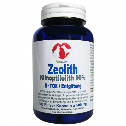 Zeolith Klinoptilolith für Haustiere 180 Pulver Kapseln