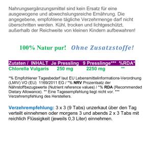 Chlorella Vulgaris 500 Presslinge