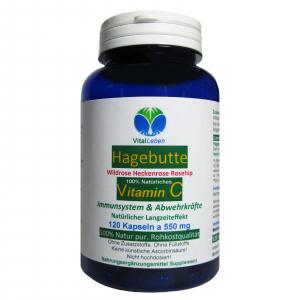 Hagebutte natürliches Vitamin-C 120 Pulver Kapseln