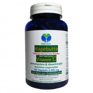 Hagebutte natürliches Vitamin-C 180 Pulver Kapseln