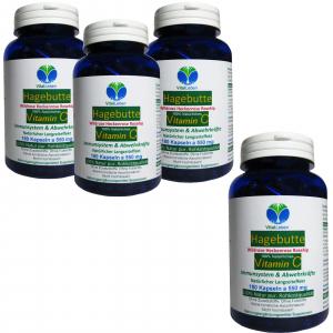 Hagebutte natürliches Vitamin-C 720 Pulver Kapseln