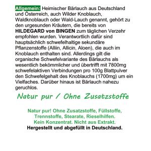 Wilder Frischblatt Bärlauch nach Hildegard von Bingen 720 Kapseln