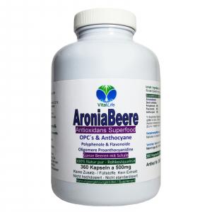 Aroniabeere OPC + Antioxidantien + Vitamine C+E+K - 360 Kapseln