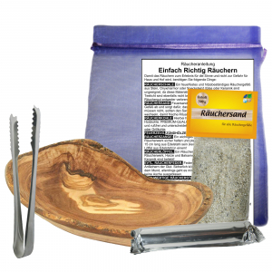 Räucherschale Oliven / Wurzel Holz 15-17cm Räucher Set 6 teilig
