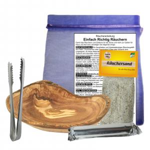 Räucherschale Oliven / Wurzel Holz 12-14cm Räucher Set 6 teilig