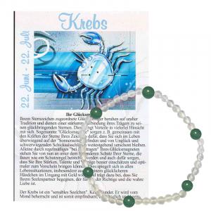 Bergkristall + Aventurin grün Glücks Armband Krebs