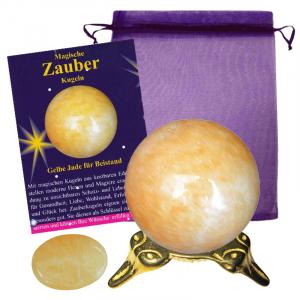 Gelbe Jade Zauberkugel 4cm mit Zauberstein magisch