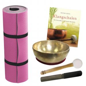 Therapie Klangschale ca.300-400g Kopfschale + Fitnessmatte + Buch von Peter Hess