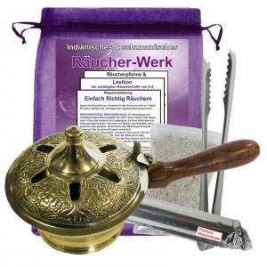 Räucherpfanne & Weihrauchbrenner 21cm Messing 8 teiliges Set