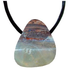 Boulder-Opal gebohrt, ca. 2-4cm mit Seidenband