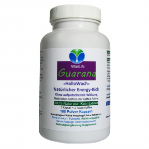 GUARANA NATUR pur HALLO WACH Energie BOOSTER 180 Pulver Kapseln
