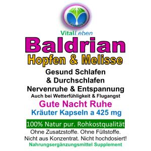 Baldrian Hopfen & Melisse 180 Pulver Kapseln
