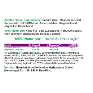 Calcium - Magnesium - Citrat 2:1, 360 Pulver Kapseln
