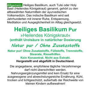 Basilikum Holy Basil Ayurveda Tulsi 180 Kapseln
