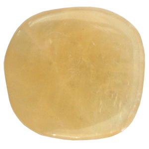 Gelber Calcit Schlaf-Stein mit Täschchen und Beschreibung ca. 3-5cm