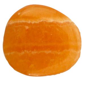 Orangencalcit Schlaf-Stein mit Täschchen und Beschreibung ca. 3-5cm