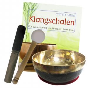 Klangschale BENGALI KEHLKOPFSCHALE ca. 14-15 cm mit Buch von Peter Hess