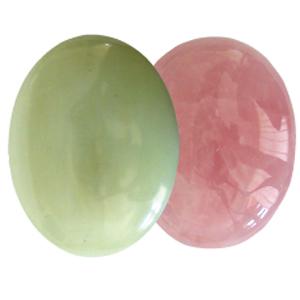 Ayurvedische Massage-Steine Grüne Jade & Rosenquarz