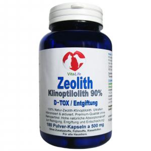 Zeolith Klinoptilolith DETOX für Haustiere 180 Pulver Kapseln