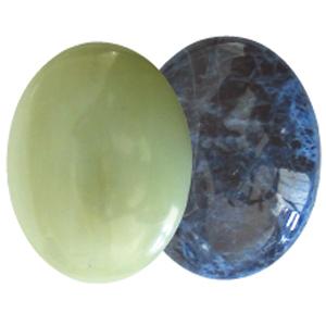 Ayurvedische Massage-Steine Grüne Jade & Sodalith