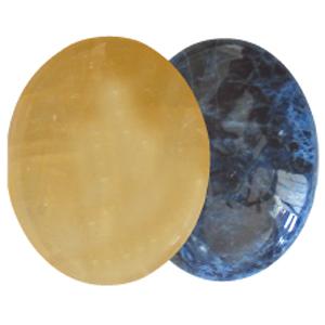 Ayurvedische Massage-Steine Gelber Calcit & Sodalith