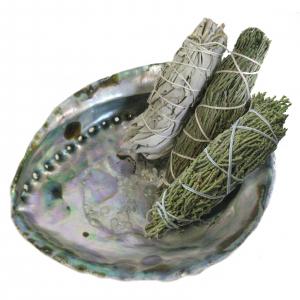 Indianisch schamanisch Räuchern 6-tlg Set mit Räuchermuschel 16-20 cm