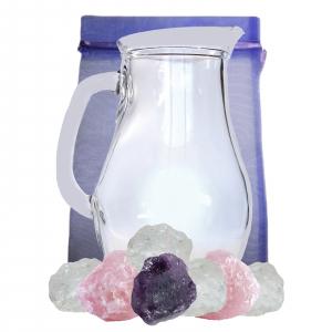 Wassersteine zur Trinkwasser Energetisierung 4-tlg SET mit 1,0 L Glaskrug
