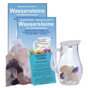 EDELSTEINWASSER GRUNDMISCHUNG 5-tlg SET | WASSERSTEINE + 0,5 Liter Krug