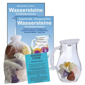 EDELSTEINWASSER Anti-Stress/Relax 5-tlg SET | WASSERSTEINE + 0,5 Liter Krug