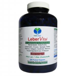Leber Vital 12 Leberkräuter & Bitterstoffe 360 Kräuter Kapseln