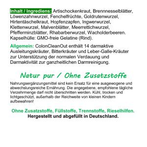 Colon Clean Out 14 Darm Aktiv Kräuter 180 Pulver Kapseln